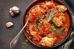 Chakhokhbili - chiken gulasz z czosnku i cilantro pietruszką wewnątrz obraz stock