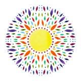 7 chakra坛场标志概念的颜色,开花花卉,水彩绘画 图库摄影