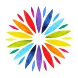 7 chakra坛场标志概念的颜色,开花花卉,水彩绘画 库存照片