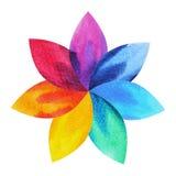 7 chakra标志标志,五颜六色的莲花象,水彩绘画的颜色 图库摄影