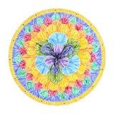 7 chakra标志标志,五颜六色的莲花象,水彩绘画的颜色 免版税库存图片