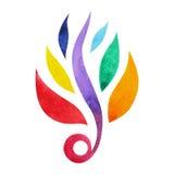 7 chakra标志概念的颜色,开花花卉,水彩绘画 免版税图库摄影