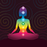 Chakra. Silhouette of woman in the form of meditation Royalty Free Stock Photo