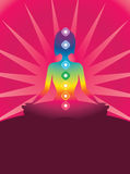 Chakra. Silhouette of woman in the form of meditation Stock Photography