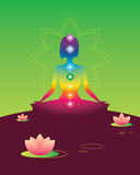 Chakra. Silhouette of woman in the form of meditation Stock Image