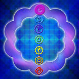 Chakra. Seven chakra over mystical colorful background Stock Photos