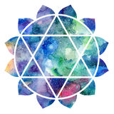 Chakra Anahata sign. Chakra Anahata icon, ayurvedic symbol, concept of Hinduism, Buddhism. Watercolor cosmic texture. Isolated on white background Stock Image
