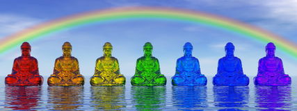 Chakra buddhas - 3D render Stock Image
