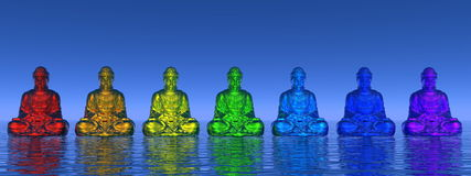 Chakra buddhas - 3D render Royalty Free Stock Images