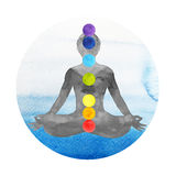 7 chakra color lotus pose yoga, watercolor painting hand drawn Stock Photos