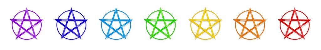 Chakra colore le pentagone étoilé illustration stock