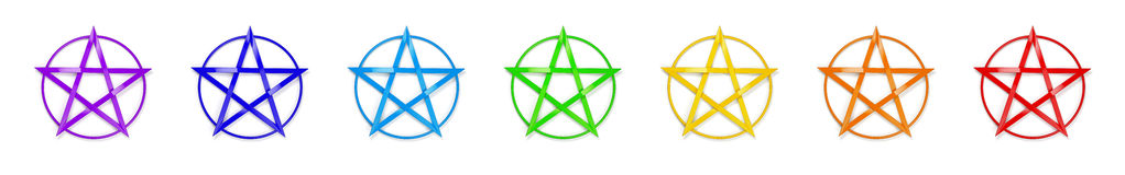 Chakra Colors Pentagram Stock Images