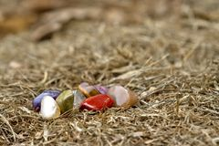 Chakra crystals sitting in some hay royalty free stock image