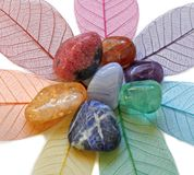 Chakra Crystals on skeleton leaves. Seven Chakra Crystals arranged on seven colored skeleton leaves in flower shape stock images