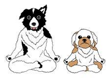 Chakra da ioga da pose dos lótus dos cães, engraçado tirado mão do desenho do vetor Imagens de Stock Royalty Free