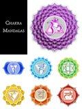 Chakra Geïsoleerde Mandalas Stock Afbeelding