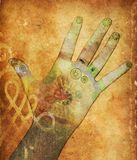 Chakra hands. Mixed media illustration of hands with reflexology points Royalty Free Stock Images