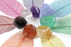 Chakra-Kristalle auf skeleton Blättern Lizenzfreies Stockfoto