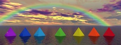Chakra landscape. Rainbow and pyramids chakra colors Stock Photos