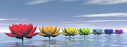 Chakra lily flowers - 3D render Stock Images