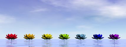 Chakra lily flowers - 3D render stock illustration