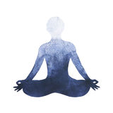Chakra lotus pose yoga symbol logo, watercolor painting Stock Photos