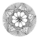 Chakra mandala icon symbol, flower floral, vector hand drawn. Illustration design concept sign Royalty Free Stock Photo