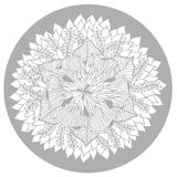 Chakra mandala ikony symbolu logo, kwitnie kwiecistego liść, wektorowy ręka rysunek Zdjęcia Royalty Free