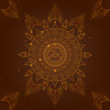 Chakra Manipura on a Dark Brown Background. Vector. Chakra Manipura on a Dark Brown Background for Your Design. Vector illustration Stock Photos
