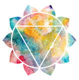 Chakra Manipura sign. Chakra Manipura icon, ayurvedic symbol, concept of Hinduism, Buddhism. Watercolor cosmic texture. Isolated on white background Stock Image