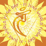 7 chakra Manipura. Chakra Vishuddha icon, ayurvedic symbol, flower pattern. 21 june. World yoga Day. International yoga day Royalty Free Stock Images