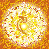 7 chakra Manipura. Chakra Vishuddha icon, ayurvedic symbol, flower pattern. 21 june. World yoga Day. International yoga day Stock Photo