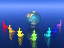 Chakra meditation for earth - 3D render Royalty Free Stock Images