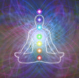 Chakra meditation on matrix energy field Stock Images