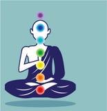 Chakra Meditation vector illustration floating person art Stock Images