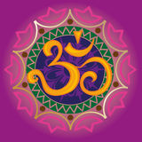 Chakra ohm with the mandala. Chakra ohm with mandala in purple color Royalty Free Stock Photo