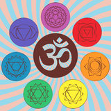 Chakra pictograms and symbol OM in the centre. Set of chakras used in Hinduism, Buddhism and Ayurveda. Elements for your design. V Stock Photography