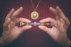 Chakra. Scepter of 7 chakras. Scepter of the seven chakras for healing meditation Stock Photo