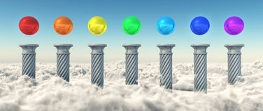 Chakra Spheres Above The Clouds Royalty Free Stock Image