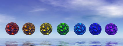 Chakra spheres - 3D render Royalty Free Stock Photography