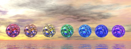 Chakra spheres - 3D render Stock Photography