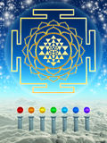 Chakra Spheres And Sri Yantra. Illustration of chakra spheres and sri yantra Royalty Free Stock Photography