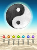 Chakra Spheres And Yin Yang Stock Photos