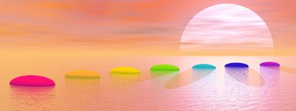 Chakra steps to the sun - 3D render. Seven steps with chakra colors over ocean leading to the sun by sunset Royalty Free Stock Images