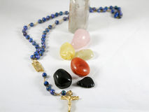 Chakra stones with rosary Royalty Free Stock Photography