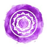 Chakra symbol. Watercolor artistic illustration stock illustration