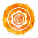 Chakra symbol. Watercolor artistic illustration Stock Photography