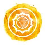 Chakra symbol. Watercolor artistic illustration Stock Image