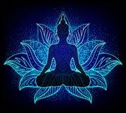 Chakraconcept Binnenliefde, licht en vrede Het Silhouet van Boedha vector illustratie