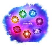 Chakras на ультрафиолетов предпосылке космического пространства иллюстрация вектора